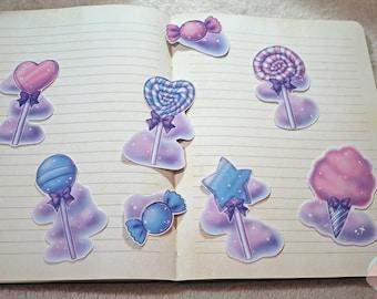 """Sticker Pack LittleMacarons """"Sweet Dreams"""" 8pc original art candy lollipop"""