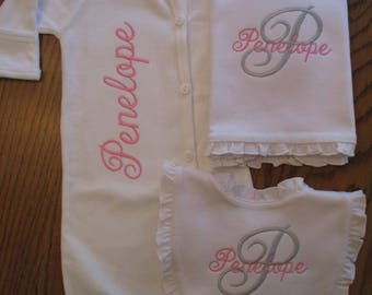 Baby girl gown Baby girl gown with Fold over Mittens  Personalized Baby Gown  Infant girl Monogrammed gown