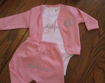 Infant Girl Monogrammed Outfit, Baby girl outfit, Personalized baby girl gift