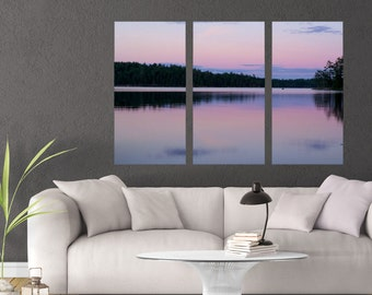 Nature Photography, Pink Wall Living Room, MN Home Decor Wall Art, Multi Panel Art Pictures, Large Canvas Art, Lake House Decor