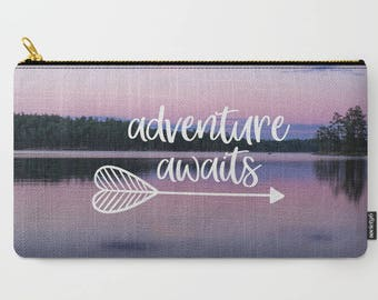 Adventure Arrow Makeup Bag, Travel Gifts For Women Birthday, Adventure Awaits, Nature Photography, Boundary Waters, Minnesota Gifts