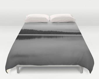 Black and White Duvet Cover Queen, King Duvet Cover, Grey Bedding Full Size Duvet Cover, Master Bedroom Decor, Woodland Bedding