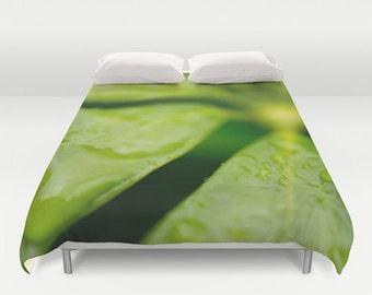 Green Duvet Cover Queen, King Size Bedding, Bedroom Art, Bedding, Tropical Bedding, Master Bedroom Decor, Caribbean Comforter Cover