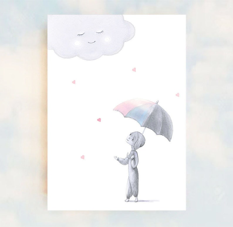 Sweet Soft Whimsical Nursery Art A5 Print image 0