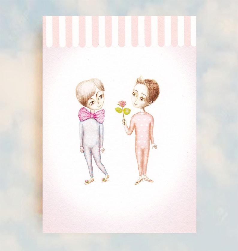 Sweet Whimsical Love Friendship Art Soft Pastel Art A6 image 0