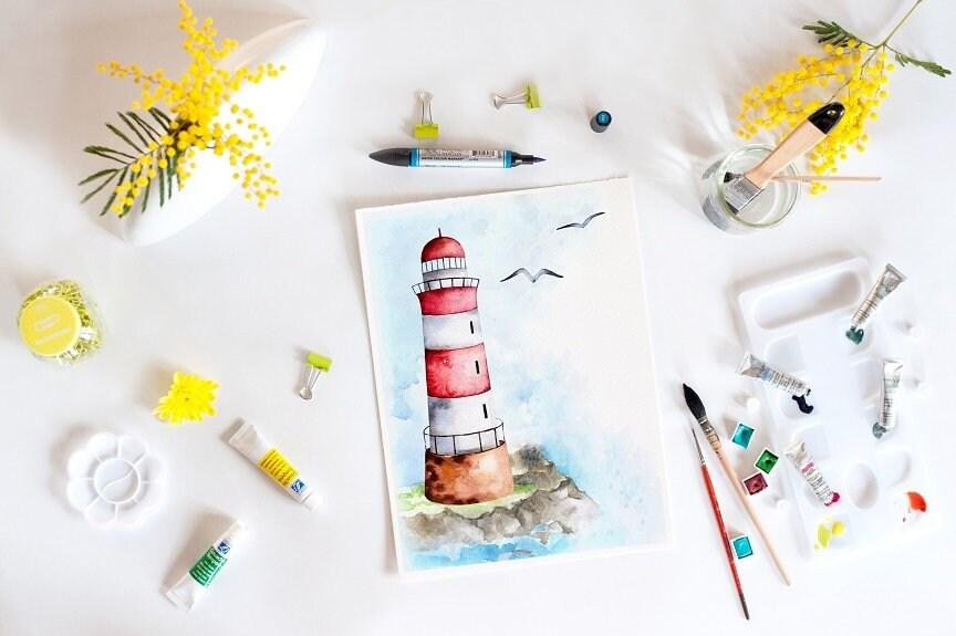 Leuchtturm Aquarell Grafik Kunstdruck Bad Kunst Leben im | Etsy