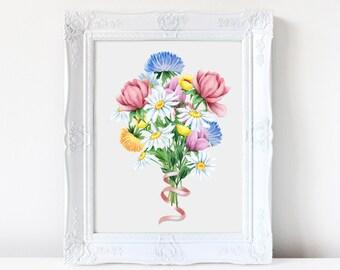 Wall art, Art print. Bouquet, Floral. Nursery print, Watercolor flowers, painting, flowers, nature, home decor