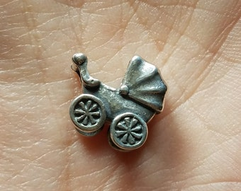 Authentic Trollbeads Baby Buggy Sterling Silver Baby Carriage Bead Charm
