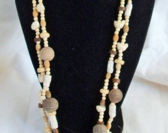 Gingerslittlegem Tribal White Coral Mother of Pearl necklace vintage collectible Southwestern handmade beaded multi strand necklace