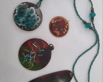 Lot of 4 Enameled Copper Pendants, Jewelry Supplies, vintage jewelry supplies