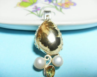 Sterling Pearl Citrine Brown Paisley Agate Pendant Southwestern Brown gemstone Pendant Mother's Day, Artisan jewelry, Gingerslittlegems