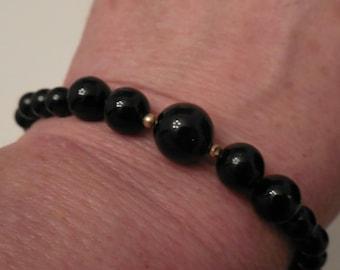 14K Gold Black Onyx Bracelet, Beaded Black and Gold Gemstone Fine jewelry Vintage Jewelry Black Gemstone Southwestern Gingerslittlegems