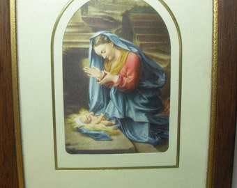 Framed Religious Mother Mary Jesus Artwork Print Jesus Mother Mary Religious gift Home Decor Christian Gift Collectibles,  Gingerslittl