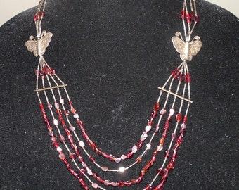 Vintage Tribal Sterling Butterfly Garnet Necklace Multi strand Bib necklace Southwestern vintage jewelry Bench Sterling silver necklace