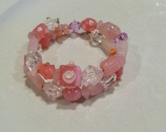 Pink Glass bead Wrap bracelet, Pink and white beads,  retro wrap bracelet, teen gift, hippie, gypsy. Boho jewelry  Gingerslittlegems