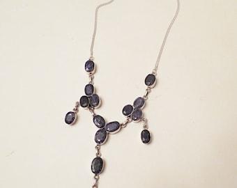Sterling Silver Bib Sapphire Necklace, Southwestern Necklace, blue gemstone, vintage jewelry, fine jewelry