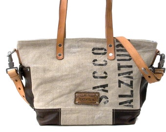 Shoulder bag shoulder bag handbag shopper Recycled Italian military bag upcycled in-house production by peace4you / 2162