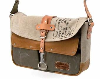 Canvas courier bag, messenger bag, handmade bag, unisex bag, upcycled messenger, shoulder bag,laptop bag peace4you 2037