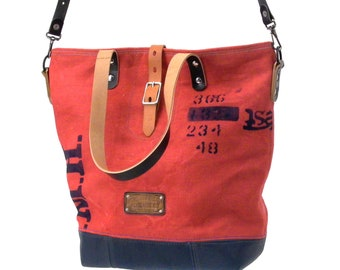 Shoulder bag shoulder bag Recycled Postsack Upcycled Shopper Upcycled In-House Production by peace4you / 2127