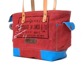 Red Canvas Shoulder bag Recycled Hand Dyed Printed Belgian Postbag Upcycled In-House Production by peace4you / 2190