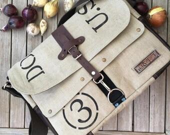 """Beige Canvas Messenger Bag, School Bag, Shoulder Bag, Vintage Material, Post Bag, Unisex Bag, 17"""" Laptop Bag 2088b"""