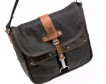 Black Courier Bag Recycled Leather Jacket Messengerbag Upcycled In-House Production by peace4you / 2067
