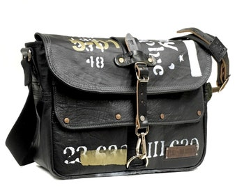 Leather Messenger Bag Hand Printed Used Look Recycled Leather Jacket Upcycled In-House Production by peace4you / 2132
