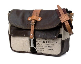 Brown Leather Messenger Bag Recycled Leather Jacket Belgian Army Postsack Upcycled In-House Production by peace4you / 2065
