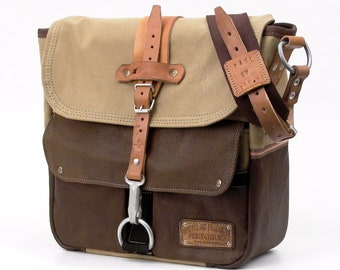 Recycled Leather Canvas Courier Bag Messenger Bag French Military Tent Upcycled In-House Production by peace4you / 2045