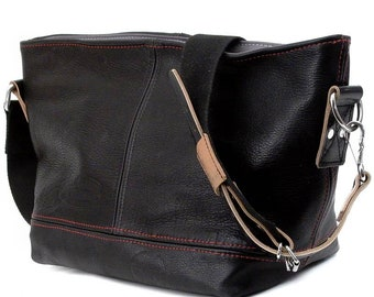 Small Black Leather Handbag Recycled Leather Jacket Cross Body Upcyclates In-House Production by peace4you / 2027