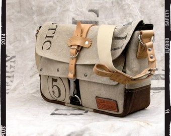 Recycled Postbag Canvas Messenger Bag Upcycled In-House Production by peace4you / 2088