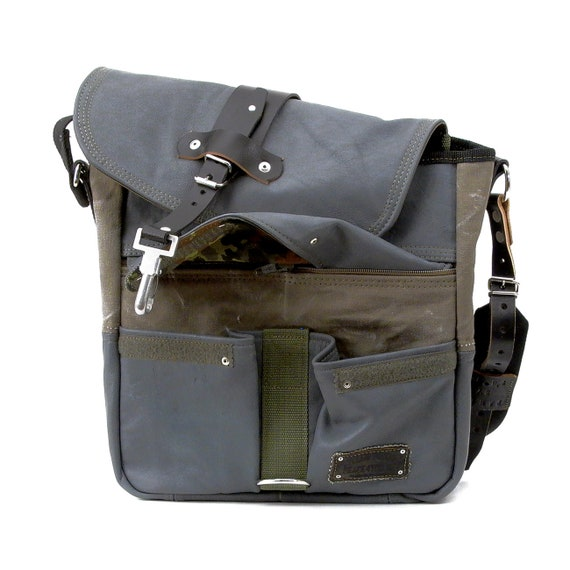 Grey leather Jackets Courier bag Recycled messenger Bag Army  0bca835c63f48