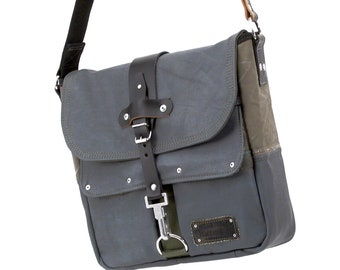 Grey Leather Jackets Courier Bag Recycled Messenger Bag Bundeswehr Sea sack Cross Body Upcycled In-House Production by peace4you / 2010