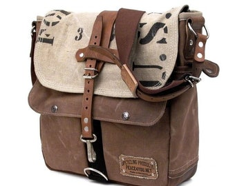 Brown Beige Courier Bag Messenger Bag Recycled Leather Jacket Tent Track Upcycled In-House Production by peace4you / 2165