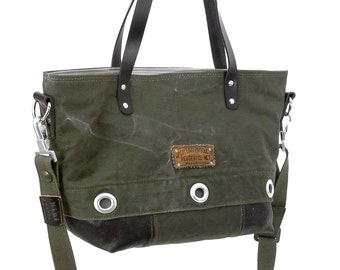 Handbag Bundeswehr Seasack Leather Jacket Recycled Canvas Leather Jacket Upcycled In-House Production by peace4you / 1896
