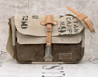 Leather Canvas Messenger Bag Recycled Postbag Upcycled In-House Production by peace4you / 2153