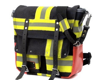 Fire Fighting Jacket Messenger Bag Reflex Bicycle Bag Recycled Upcycled In-House Production by peace4you / 2045
