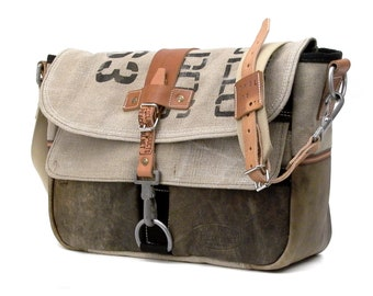 Courier Bag Recycled Leather Canvas Messenger Belgian Military Postsack Upcycled In-House Production by peace4you / 2023