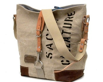 Canvas Shopper Recycled Shoulder Bag Upcycled In-House Production by peace4you / 2092