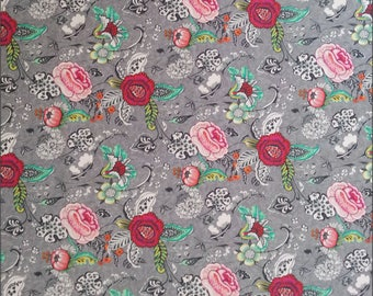 Cotton Fabric - Oriane Floral 160cm Wide 100% Cotton Fabric - per 1/2m - For Dressmaking and Patchwork - Free Shipping - UK Seller
