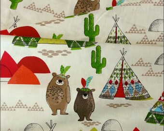 Cotton Fabric - Tee-Pees and Bears 100% Cotton Fabric 160cm Wide - per 1/2m - For Dressmaking and Patchwork - Free Shipping - UK Seller