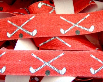 Kids Sport Grey DIY Hair Tie FOE Elastic for Hair Ties 58 FOE Gray Field Hockey Print Fold Over Elastic Team Sports Printed Elastic