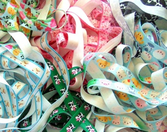 Blue zebra print 58 fold over elastic FOE diy headbands and hair ties 1-10 yards elastic by the yard
