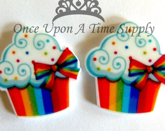 c0e6cf668cec Colorful Rainbow Cupcake Resin Flatback Charms - Boutique Hair Bow Making  Flower Hairbow Centers Craft Embellishment Cabochon Supply