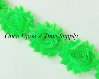 "1//2 yard celery green 2.5/"" shabby chiffon rose trim flowers DIY headband"