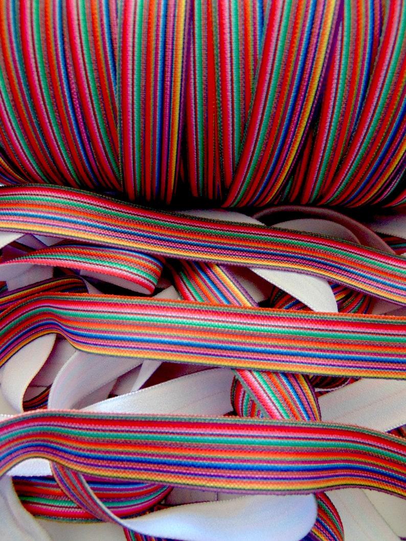 58 inch FOE Fiesta Party Elastic Fold Over Elastic DIY Hair Tie Making Colorful Mexican Blanket Printed Serape Print Elastic Stripe