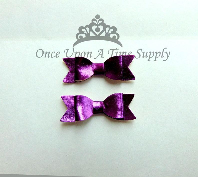 Shiny Purple Faux Leather Bows  2 Inch Size DIY Headband Hair image 0