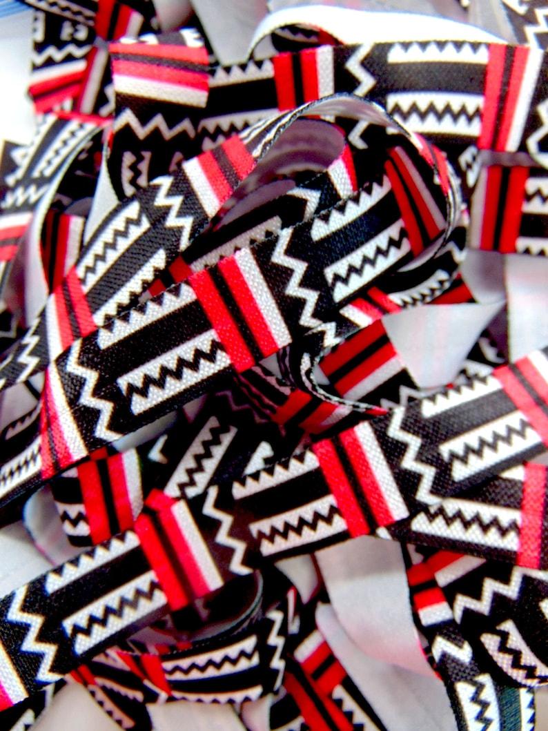 Black Red White Flat Sewing Supplies Tribal Fun DIY Hair Tie Making Aztec Print Fold Over Elastic 58 inch FOE Soft Printed Elastics