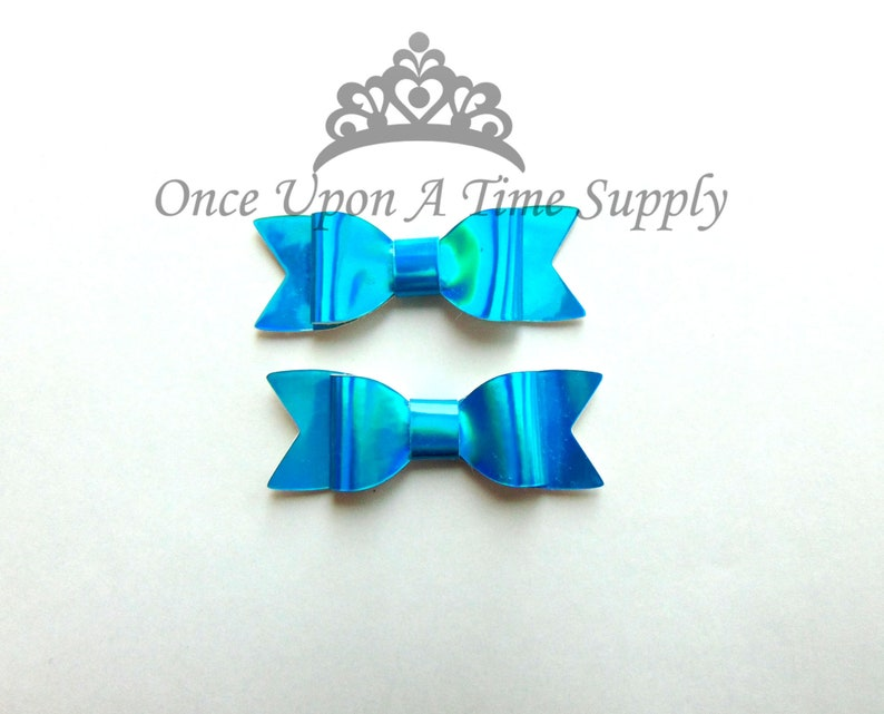 Shiny Bright Blue Faux Leather Bows  2 Inch Size DIY Headband image 0