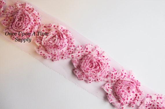 "5 pieces white 2/"" shabby chiffon star rose trim 4th of July"